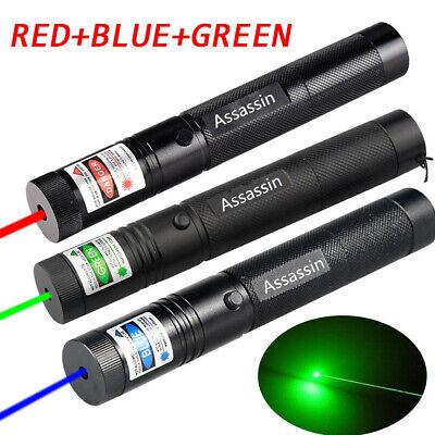 3PCS 900Miles Assassin Green+Red+Blue Purple Laser Pointer Zoom Focus Lazer USA