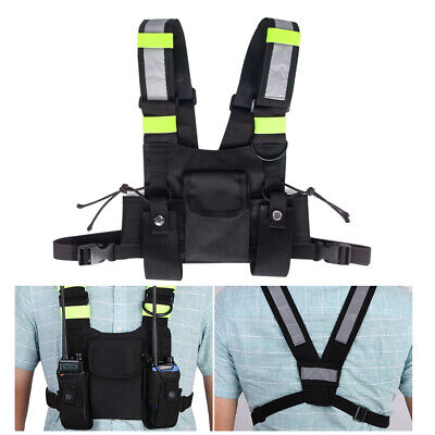 2-Way Radio Chest Harness Pocket Pouch Holster Vest Rig Bag Walkie Talkie Holder