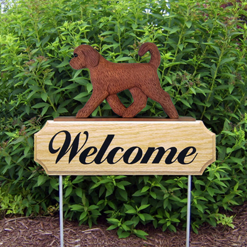Goldendoodle Wood Welcome Outdoor Sign Red