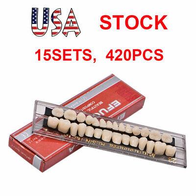 15sets Dental Denture Acrylic Resin Full Set Teeth Upper Lower Shade 23 A2 Usa