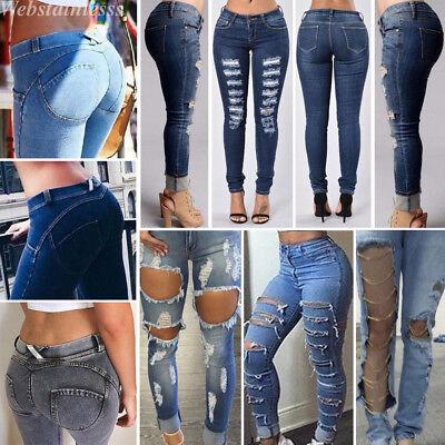 Lady Denim Skinny Ripped Pants High Waist Stretch Jeans Slim Pencil Trousers Lot