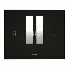 classy wardrobe 4 you, 2,28m wide 6 door black wardrobe