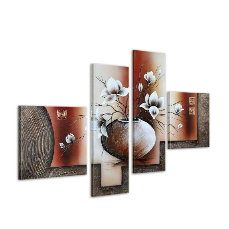 Magnolie+M14+-+Leinwandbild+4+teilig+100x70cm+Handgemalt