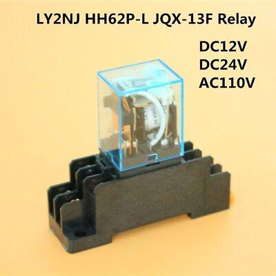 Dc12v - Ac110v Coil Power Relay Dpdt Ly2nj Hh62p-l Jqx-13f W Ptf08a Socket Base