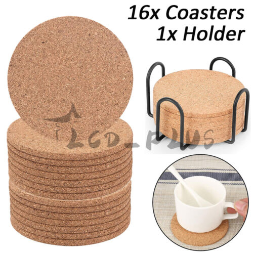 16pcs Cork Coasters Absorbent With Holder Drink Coffee Tea Cup Mat Pad Decor