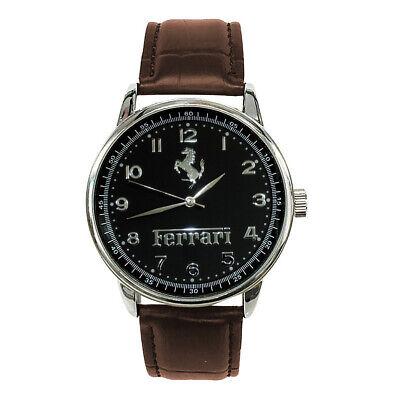FERRARI Mens Stainless Steel BLACK Dial BROWN Leather Strap Sport CAR Watch