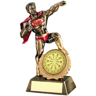 Darts Super Hero Cape Award Fun Novelty Gifts Sport Trophy - FREE Engraving