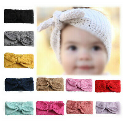 Baby Toddler Girls Crochet Knitted Bow Turban Headband Hair Kid Head Band Gift