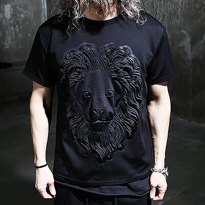 ByTheR Solid Black Gothic Dark Wear 3D Embossed Lion Face Short Sleeve T-shirts