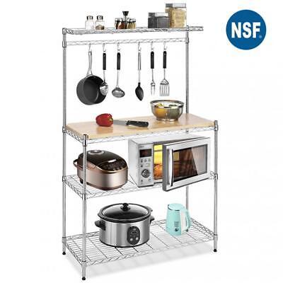 Metal Baker's Rack Organizer Stand Shelf Kitchen Microwave Cart Storage Stand Chrome Kitchen Kitchen Cart