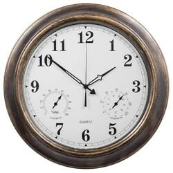 18 Inch Large Indoor Outdoor Wall Clock Waterproof with Temperature and Humidity