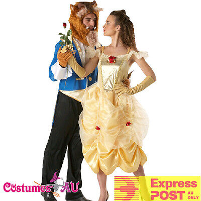 Adult Disney Belle Princess Beauty And the Beast Costume Prince Fancy Dress Up (Princess Costume For Men)