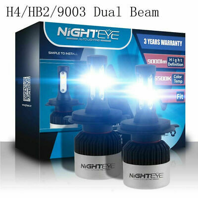 Car Parts - Nighteye H4 9003 LED Headlight 72W 9000LM HID White 3-Sided Kit Dual Hi/Lo Bulbs