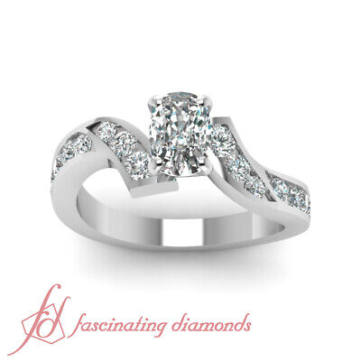 1.35 Ct Cushion Cut H-Color Diamond Zig Zag Engagement Ring Channel Set 14K GIA 1