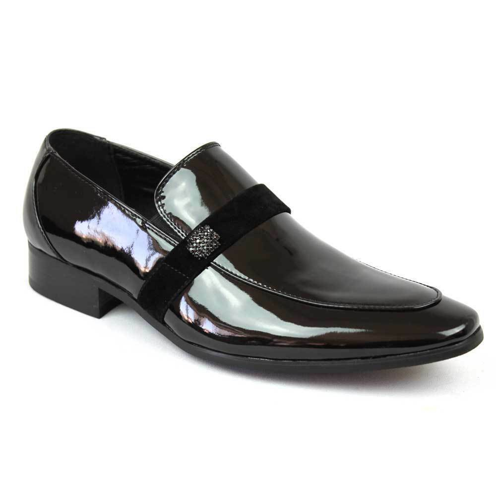 Faranzi Men's Slip On Black Patent Tuxedo Shoes F41094