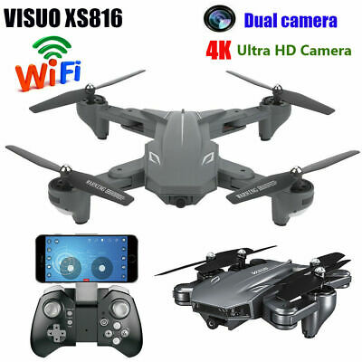 VISUO XS816 2.4G RC Foldable Drone FPV WiFi 4K Ultra HD Dual Camera Best