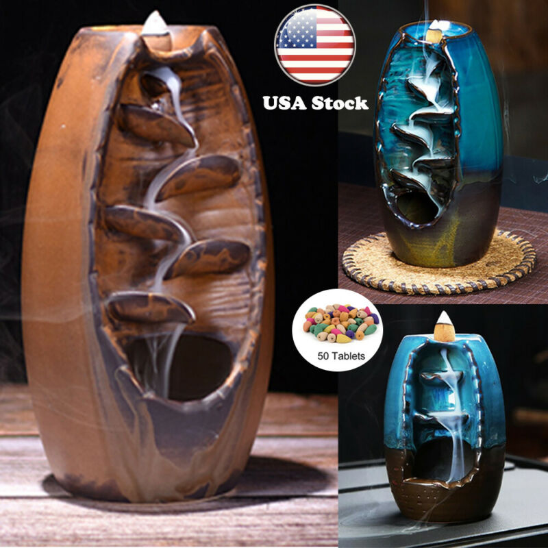 50 Free Cones Ceramic Backflow Waterfall Incense Burner Decoration Aromatherapy
