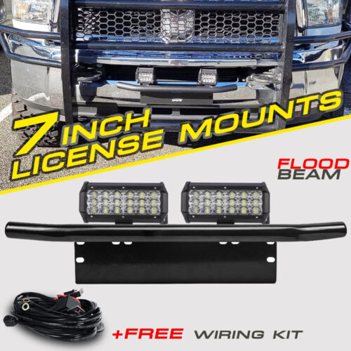 "2X 7"" CREE LED Light Bar Tri-Row Front Bumper License Plate Mount Holder Driving"