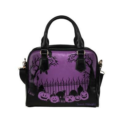 Sweet Midnight Trick or Treat Graveyard Pumpkins Haunted Halloween Handbag Purse](Halloween Graveyard Dessert)