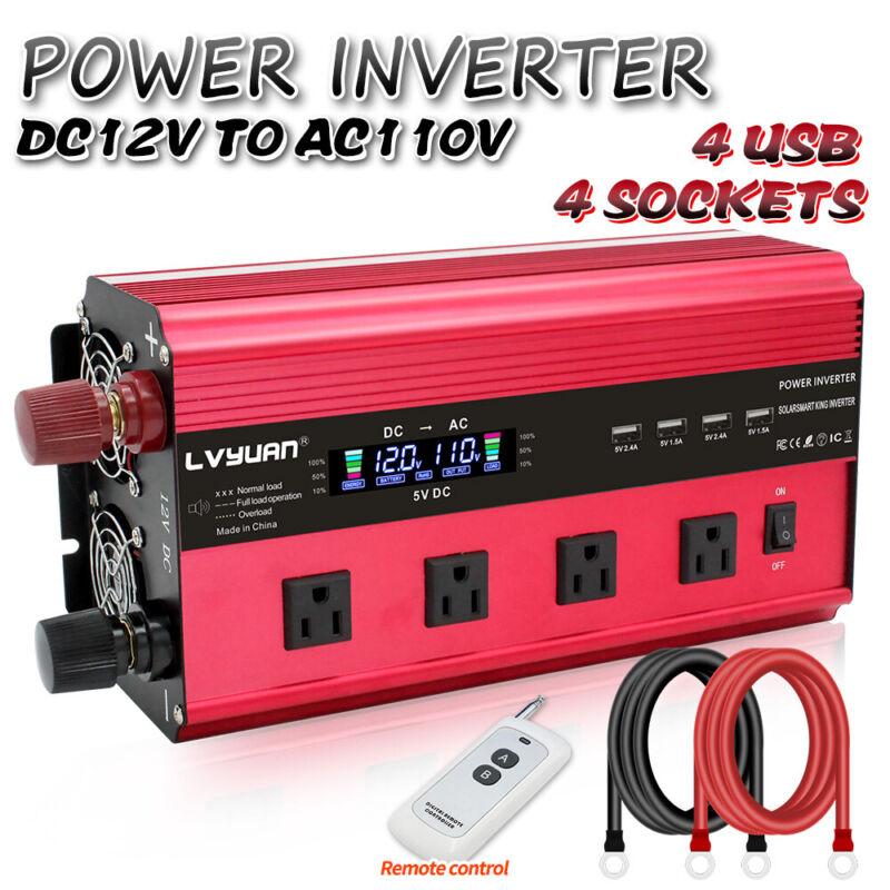 3000W 6000W Power Inverter DC 12V To AC 110V 120V Remote Control 4USB 4 AC Trip
