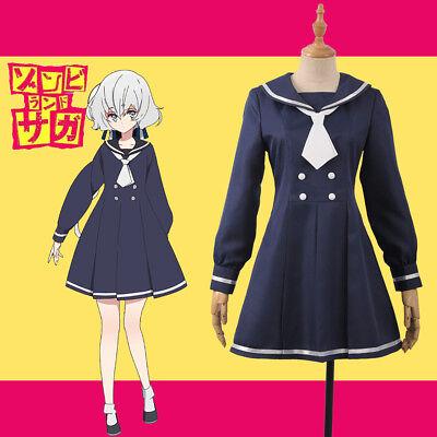 Zombie Anime Kostüm (2018 Horrible Anime ZOMBIE LAND SAGA Junko Konno Cosplay Costume Dress + Tie)