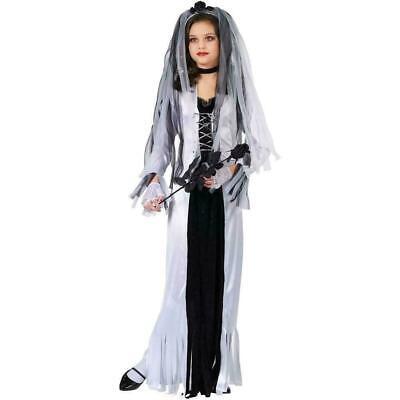 Skeleton Bride Child Costume Small (4-6) Gown Choker Headpiece Gloves Fun World - Skeleton Bride Costume