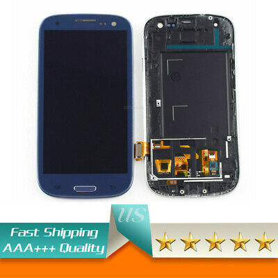 Blue for Samsung Galaxy S3 i9300 i9305 LCD Touch Screen Replacement with Frame (Galaxy S3 Screen Replacement Blue)