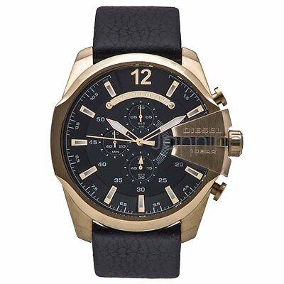 Diesel Authentic Watch DZ4344 Men's Mega Chief Chrono Gold Black Leather Strap