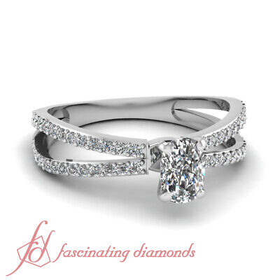 3/4 Ct Cushion Cut:Very Good Diamond Inverse Split Engagement Ring Pave Set GIA