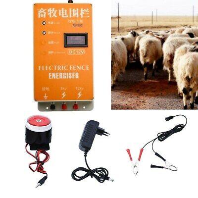 New 12kv Electric Solar Fence Charger Ranch Animal Display Screen Alarm 220v