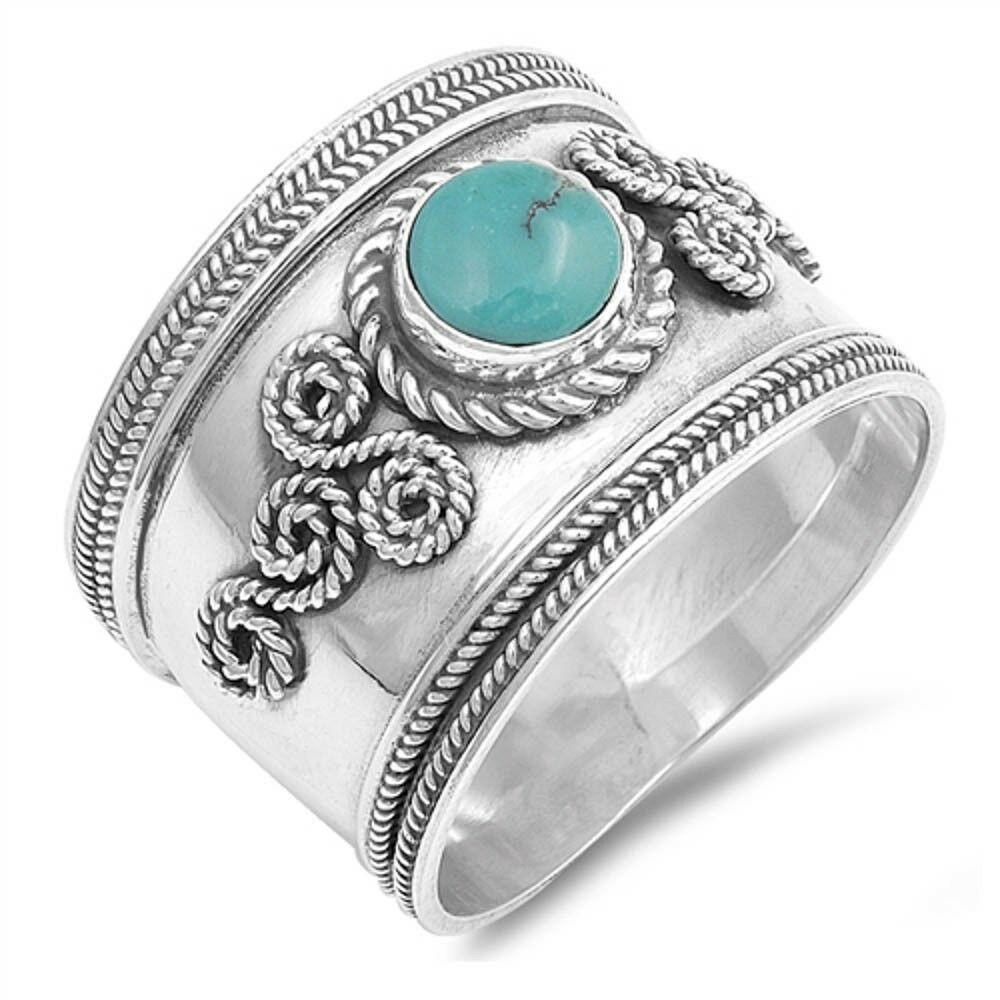Turquoise Filigree Bali Band .925 Sterling Silver Ring Sizes