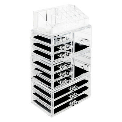 New 11Pcs Drawers Acrylic Makeup Jewelry Organizer Holder Box Display Rack Tower
