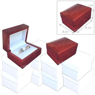 LOT OF 6 NEW FANCY WOOD DOUBLE ENGAGEMENT RING GIFT BOX DISPLAY CASE DELUXE BOX
