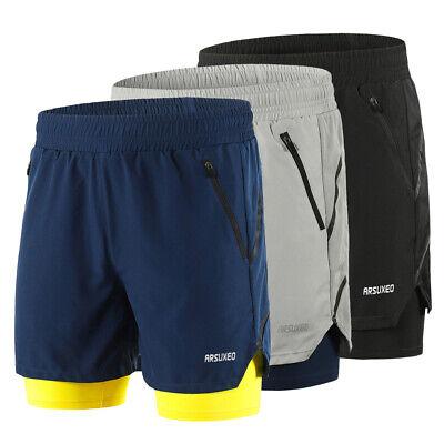 NEW Men 2in1 Running Shorts Quick Drying Training Jogging Cy