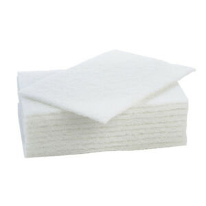Crown Supplies Non-Scratch Scourers White - Pack of 10