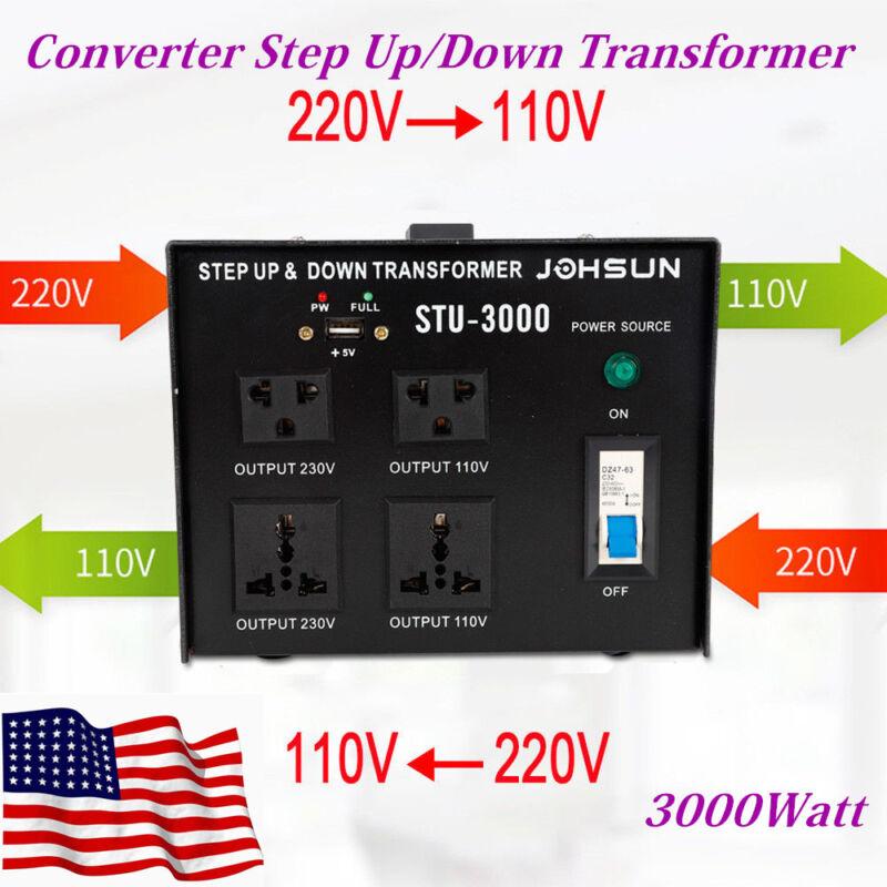 220V-110V 110V-220V Voltage Converter Step-Up/Down Transformer 5 Outlets 3000W