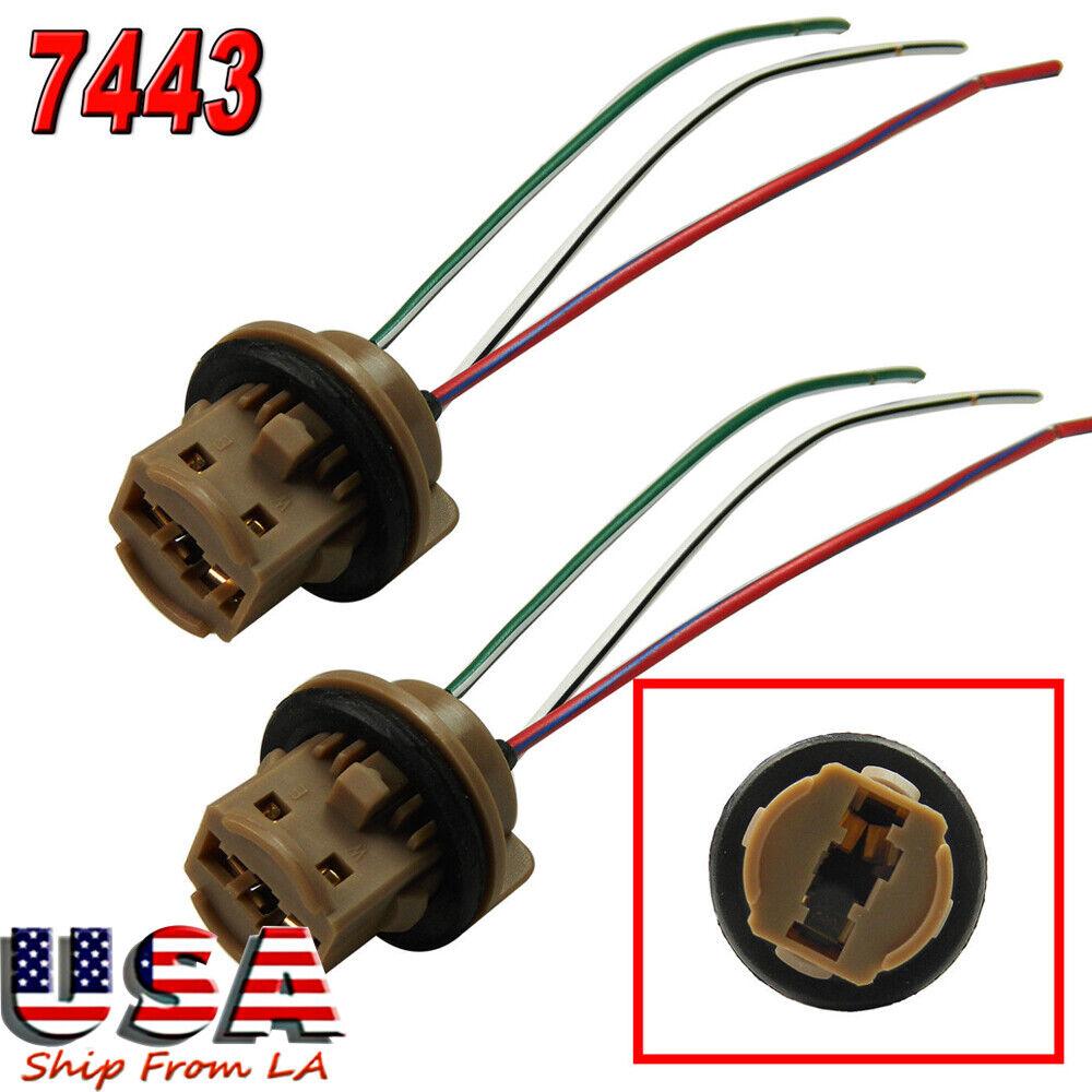 2x T20 7443 Bulbs Socket Brake Turn Signal Light Harness Wire LED Tail Plug Hot