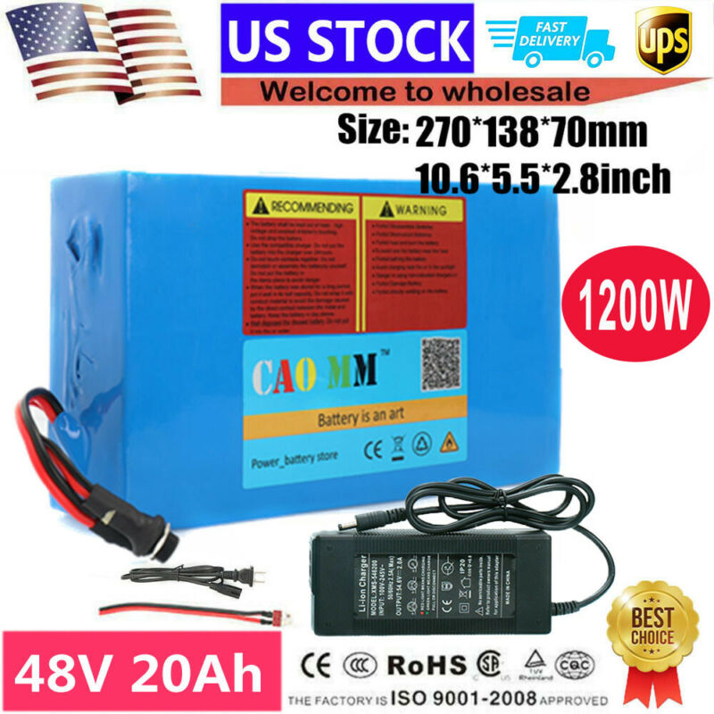 48V 20AH Lithium Li-ion Battery Pack ≤1200W EBike Electric Bicycle Scooter Motor