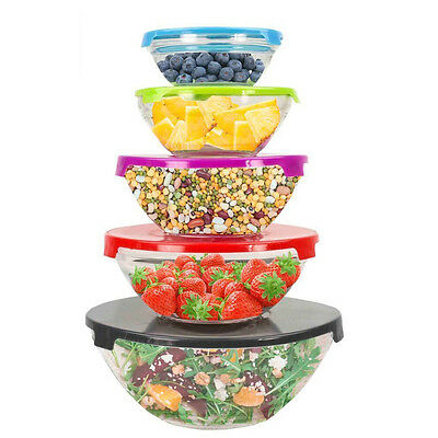 Home Basics® 10 Piece Glass Mixing and Storage Bowl Set with Colored Lids