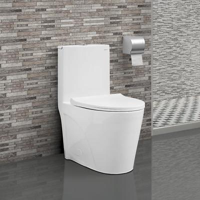 Swiss Madison St. Tropez One Piece Elongated Toilet Dual Flush 1.28 gpf White - Gpf Dual Flush Toilet