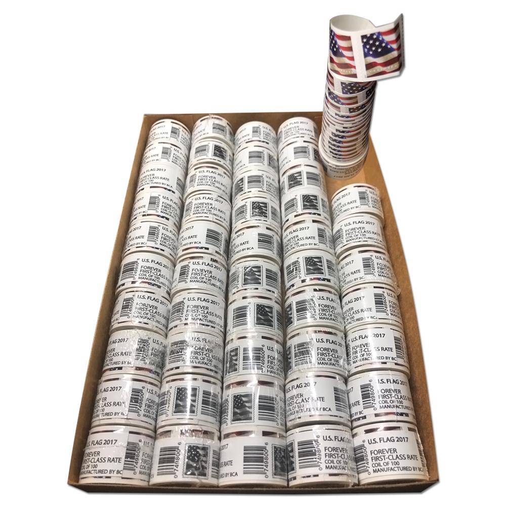 Купить *1000 FOREVER STAMPS* 10 rolls of 100 2017 USPS Forever US Flag Stamp Coil
