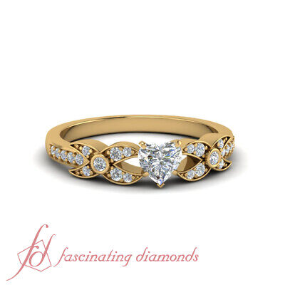 .85 Ct Heart Shaped And Round Diamond Women Engagement Rings 14K Yellow Gold GIA