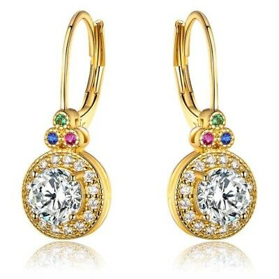18k Gold Filled Leverback Round Cut Halo and Multi Colored CZ Dangle Earrings