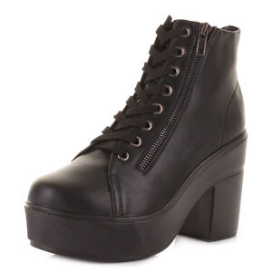 Womens-Leather-Style-Lace-Up-Platform-Ankle-Boots-With-Decorative-Zip-Size