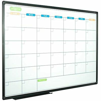 Dry Erase Calendar Whiteboard - Magnetic Board Monthly 36 X 24 Inch Black Frame