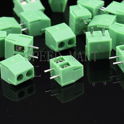 10pcs 2 Poles2 Pin 3.96mm Straight Pcb Universal Screw Terminal Block Connector