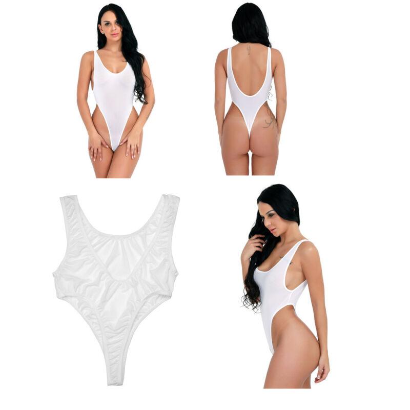 9078fcb19e9ac Damen Wetlook High Cut Bikini Thong String Body Badeanzug ...