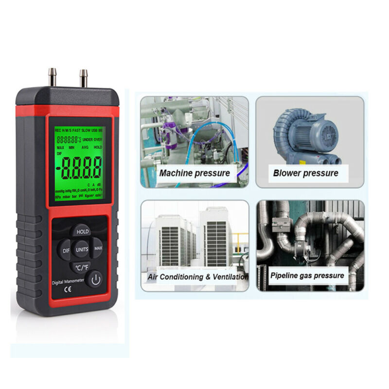 Digital Manometer w/ LCD Display Dual Port Air Pressure Meter Gauge Gas Tester