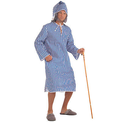 #VICTORIAN & EDWARDIAN SCROOGE NIGHTSHIRT + CAP OLD MAN OUTFIT FANCY DRESS