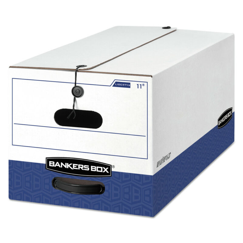 Bankers Box 0001103 Liberty Heavy-Duty Storage Box (White/Blue) (4/CT) New